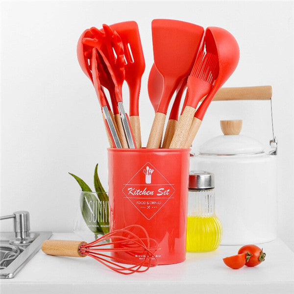 Silicone Cooking Utensils Set With Storage Box Kitchen Tools
