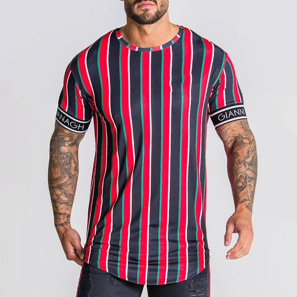 Sports Colorblock Stripe Fast Dry Short Sleeve T Shirt Tee