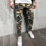 Camouflage Tight Zipper Jeans