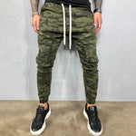 Casual Paneled Pockets Camouflage Print Foot-binding Pants