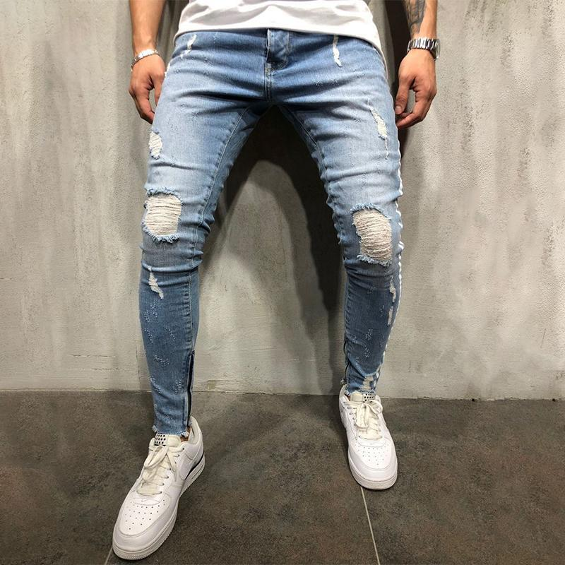 Ripped Holes Zipper Bottom Stitching Jeans