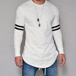 Casual Stripe Round Long Sleeves T Shirt