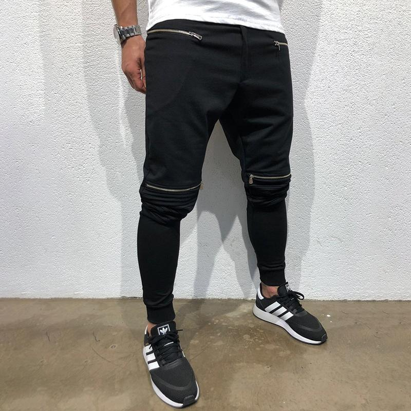 Casual Knee Zipper Shirred Stitching Pants