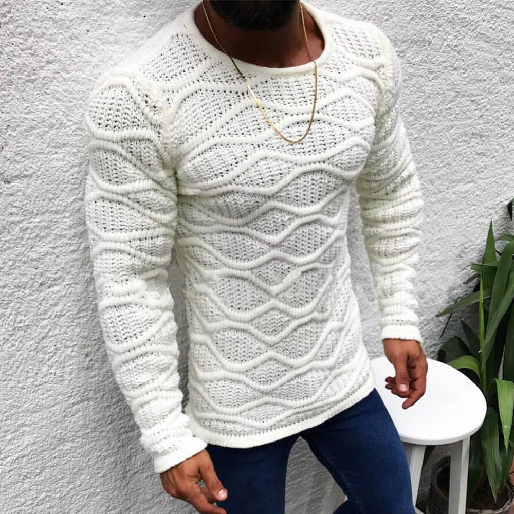 Ribbed Knitted Paneled Hollow Out Casual Solid Sweater