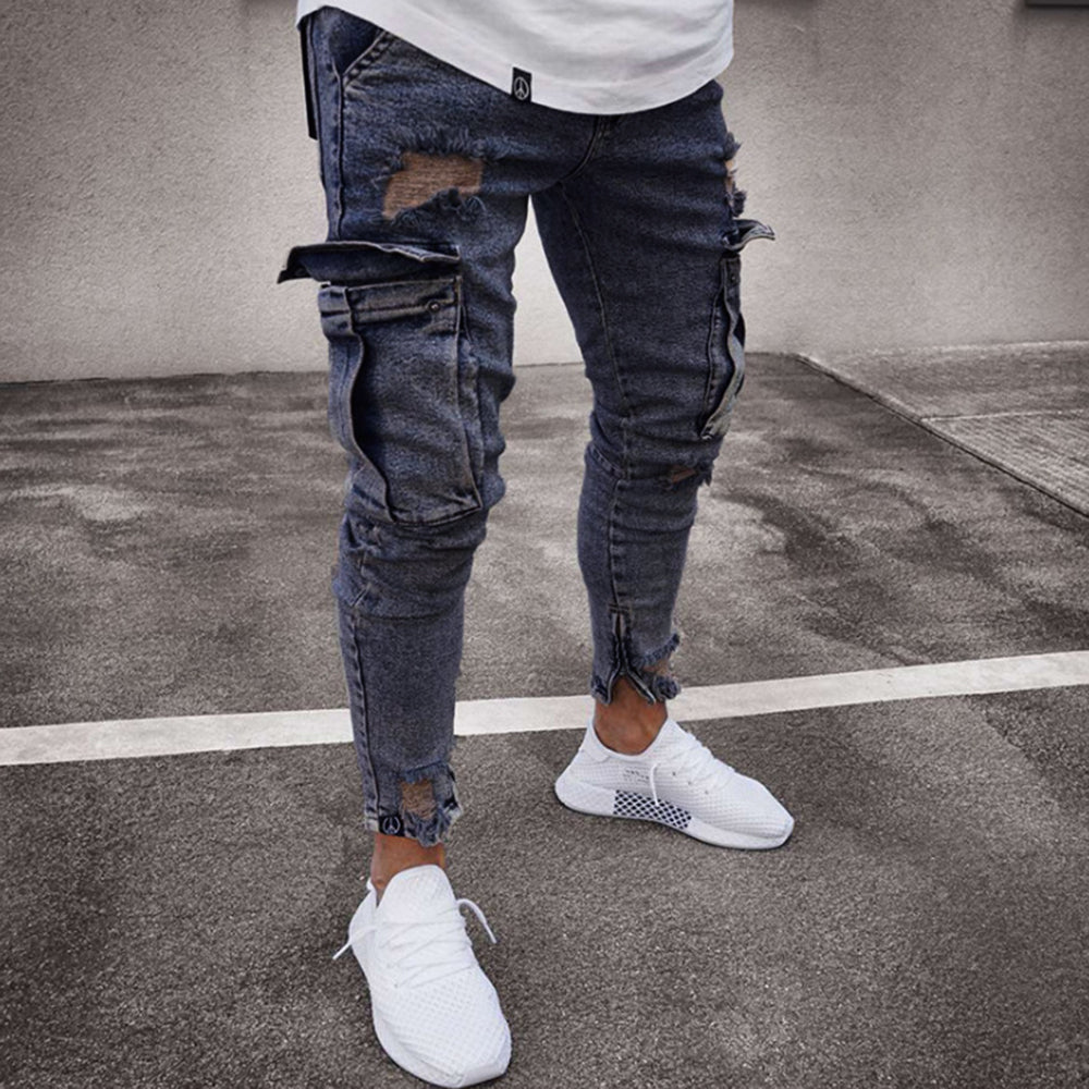 Paneled Solid Casual Zipper Folds Cutout Jeans