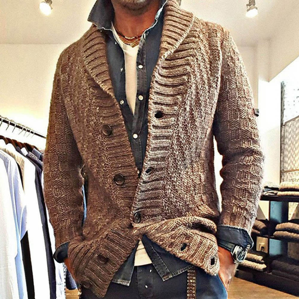Men Solid Single-Breasted Lapel Cardigan