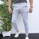 Casual Stripe Zipper Fly Skinny Pants