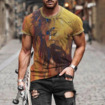 Artistic Abstract Watercolor Portrait Round Neck Short Sleeve Man T-Shirt