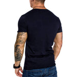 Casual Solid Paneled V-neck Short Sleeves Sheath T-shirt