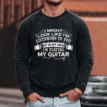 In My Head Im Playing My Guitar Letter Print T-shirt Casual Man T-Shirt
