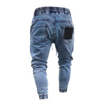 Men Street Solid Paneled Pockets Drawstring Elastic Waist Foot-binding Jeans