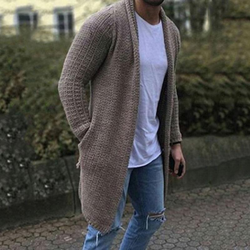 Solid Woolen Side Pockets Warm Sweater Cardigan