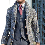 Men Solid Jacquard Single Button Placket Lapel Collar Cardigans