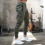 Casual Side Pocket Zipper Drawstring Tapered Leg Sweatpants