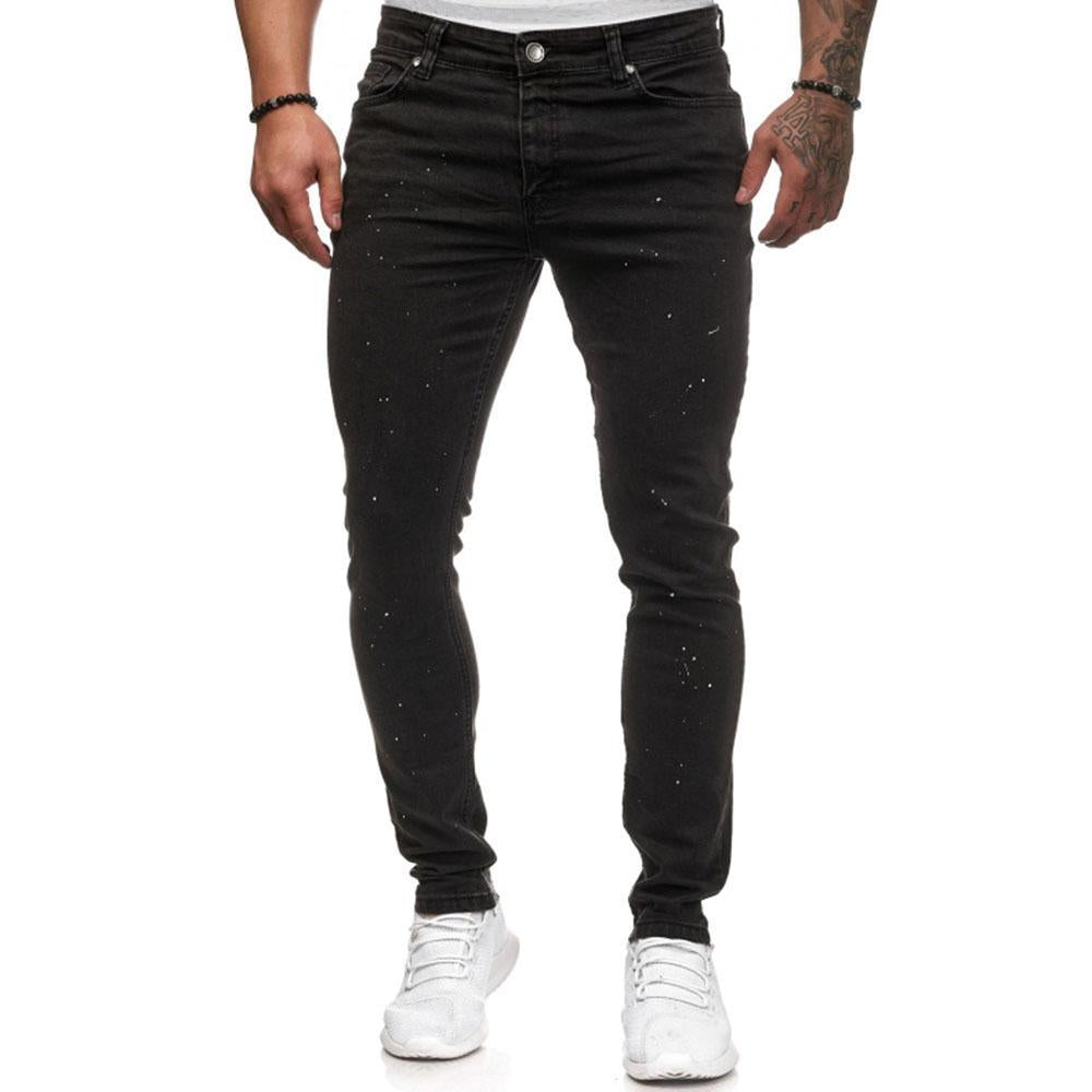 Splash Zipper Fly Skinny Jeans