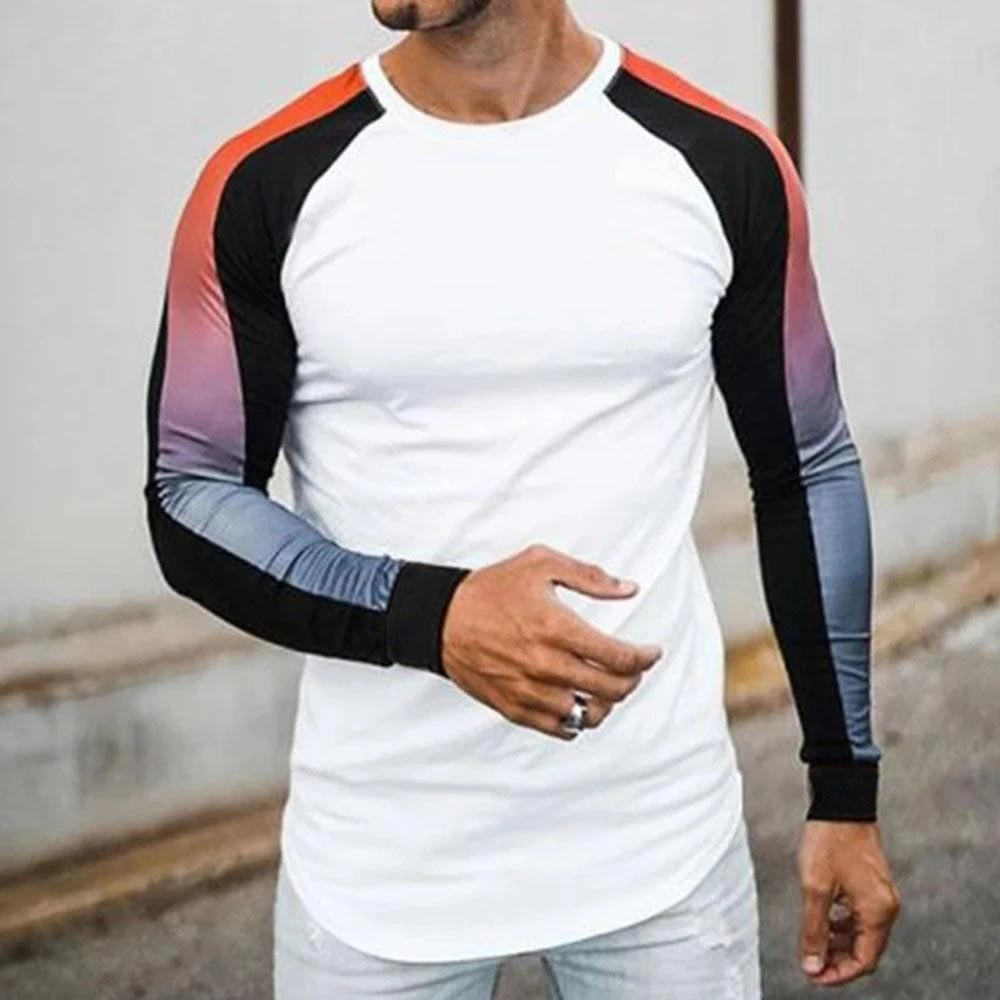Gradient Colorblock Raglan Long Sleeve T Shirt