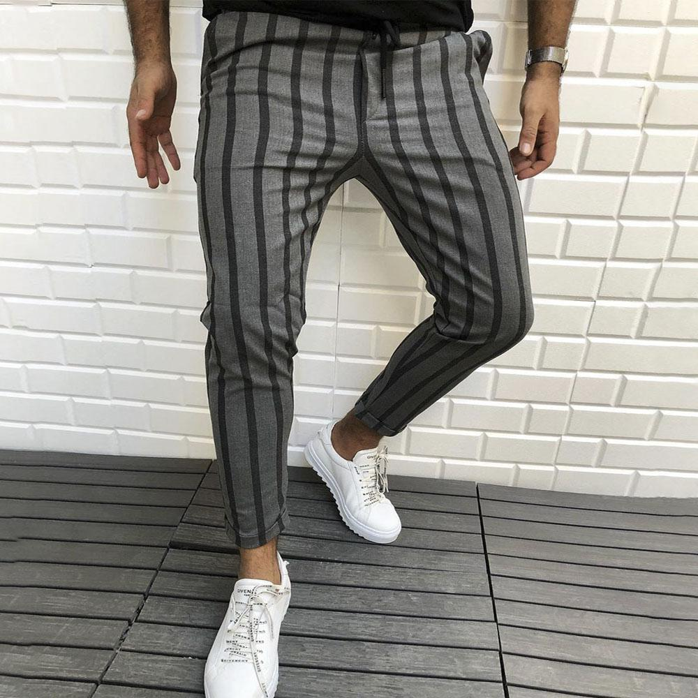 Casual Stripe Drawstring Skinny Pants