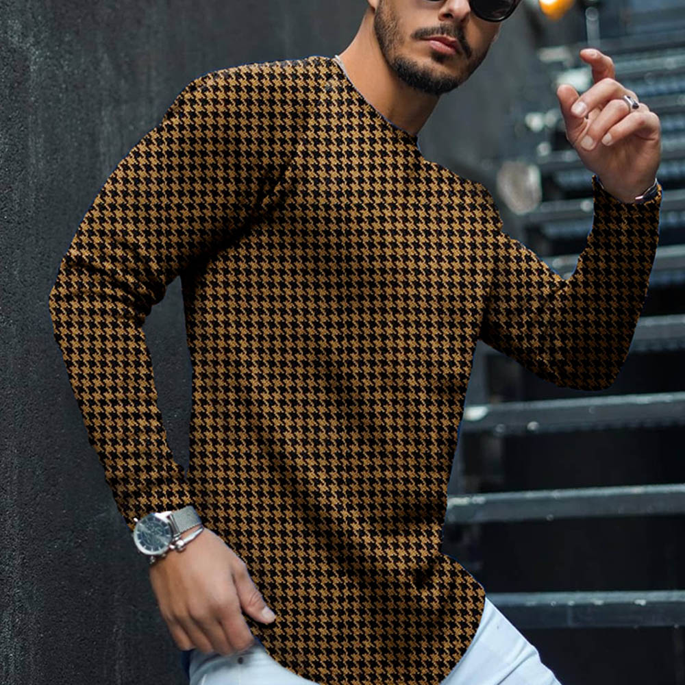 Men Round Neck Plaid T Shirt