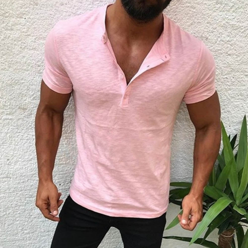 Casual Solid Buttoned V-neck Short Sleeves T-shirt
