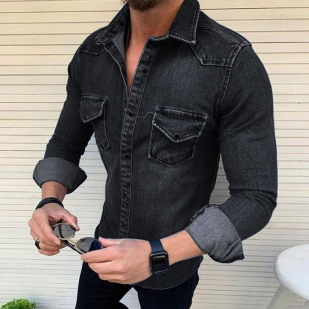Casual Solid Paneled Side Pockets Buttons Down Denim Shirt