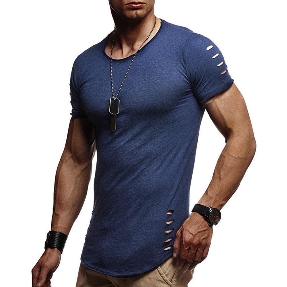 Basic Solid Curved Short Sleeve T Shirt Tee