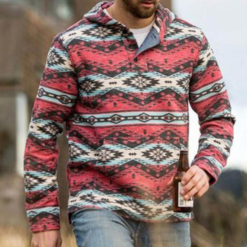 Ethnic Geometric Print Long Sleeves Man Hoodie