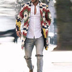 Men Mid Length Plaid Print Button Slant Pocket Coat