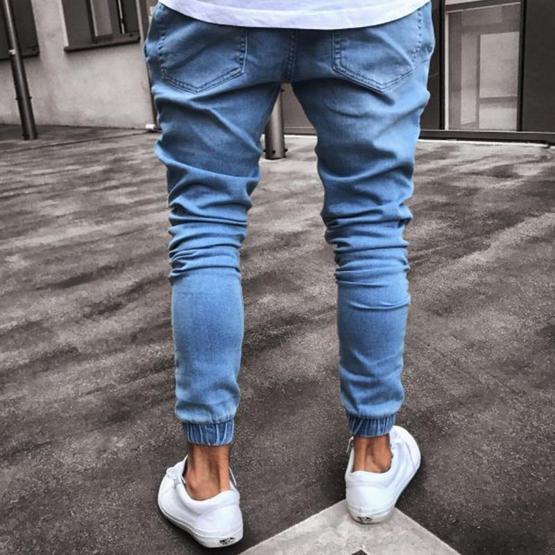 Light Blue Shirred Jeans Denim Skinny Pants