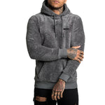 Meyif Letter Appliqued Fuzzy Drawstring Pocket Front Sports Man Hoodie