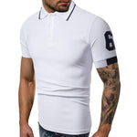 Shoulder Embroidery Number Short Sleeve Polo Shirt