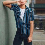 Colorblock Vertical Stripe Short Sleeve Shirts
