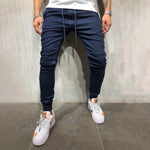 Casual Solid Drawstring Paneled Pockets Foot-binding Jeans