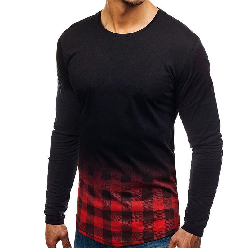 Casual Gradient Grid Long Sleeve T-shirt