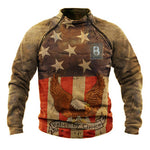 Vintage Letter Eagle American Flag Print Zipper Raglan Sleeves Stand Collar Man Sweatshirt