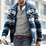 Men Jacquard Knitted Long Sleeve Cardigans