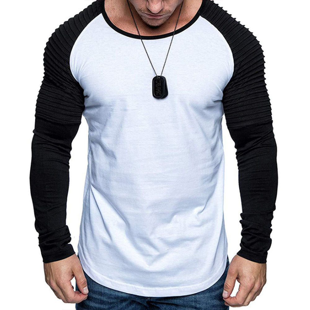 Paneled Color-block Pleated Long Sleeves Casual T-shirt