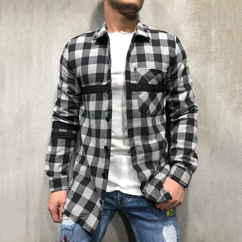 Grid Stitching Long Sleeve Shirt
