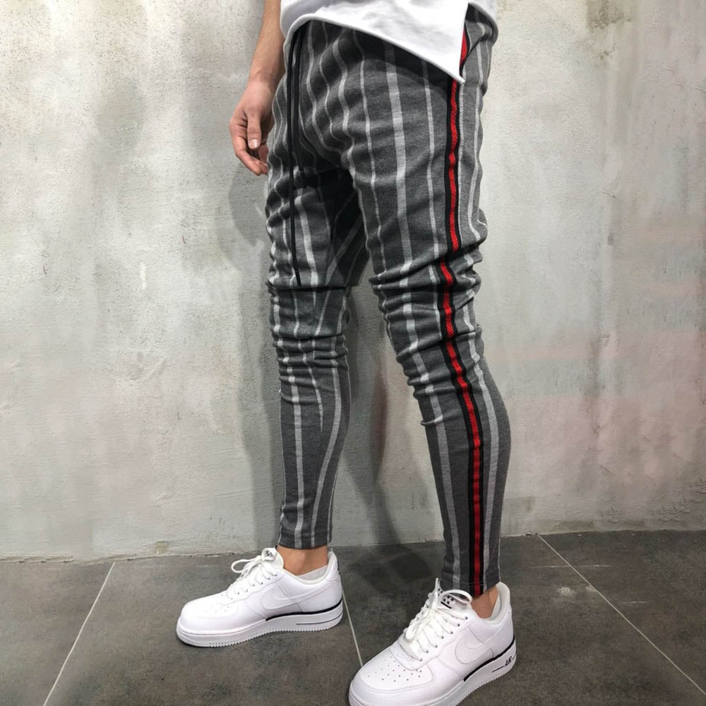 Casual Striped Print Drawstring Elastic Waist Men Sports Pants
