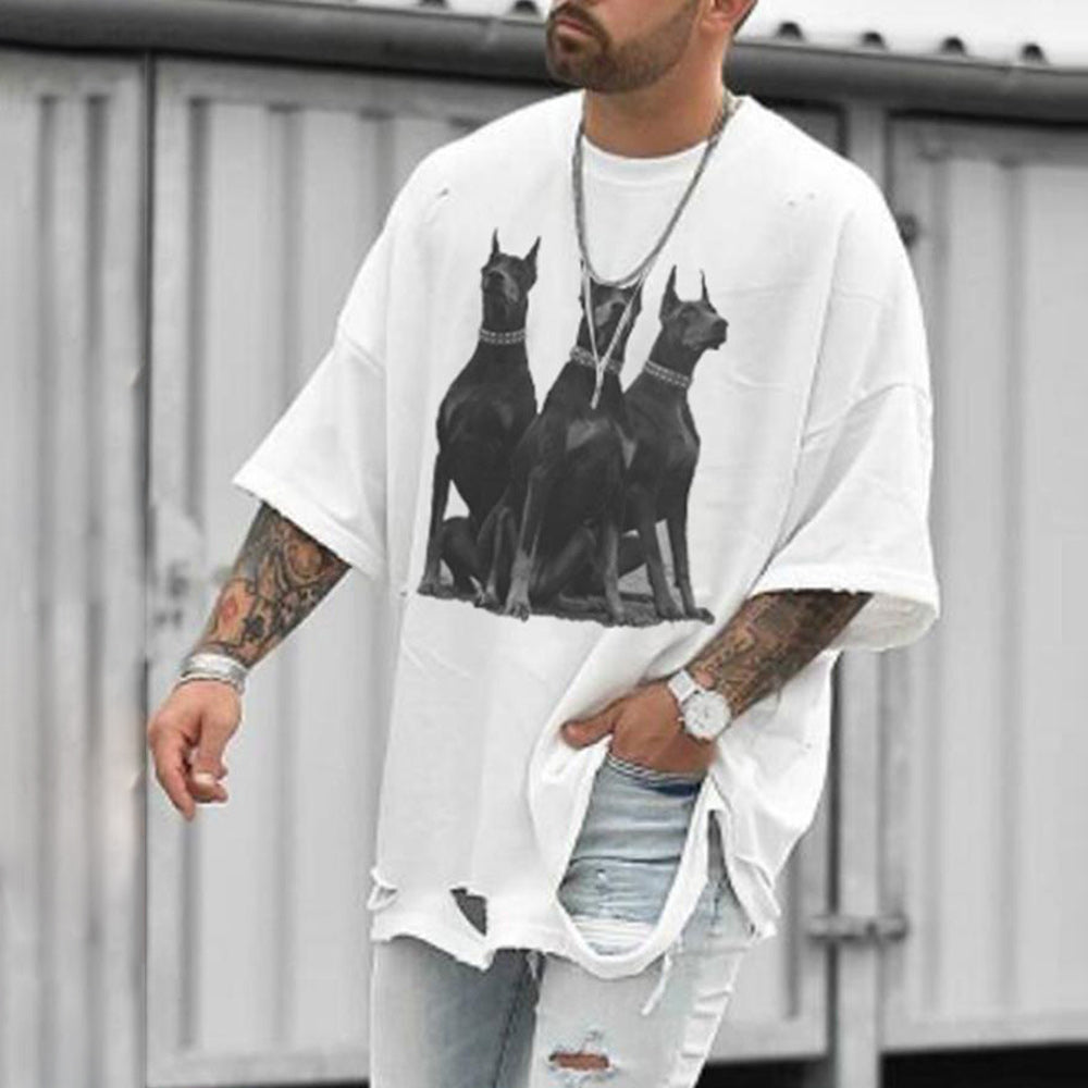 Street Three Black Dogs Print Cutout Half Sleeves Shift Man T Shirt