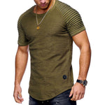 Shirred Sleeve Cotton Basic Slim T-shirt