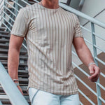 Casual Striped Print Paneled Short Sleeves T-shirt