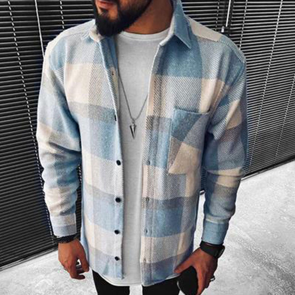 Street Plaid Print Pocket Buttons Down Shirt Collar Man Shirt