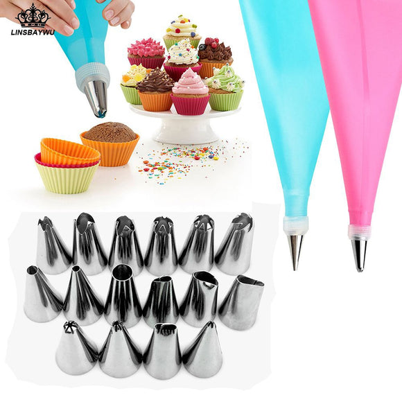 Silicone Pastry Bag Nozzles Tips DIY Icing Piping Cream 18 PCS/Set