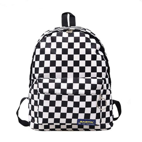 Women Backapck Black White Lattice Leisure Nylon Outdoor Travel