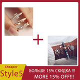 3Pcs/Set Fashion Geometry Intersect Crystal Rings Set For Women