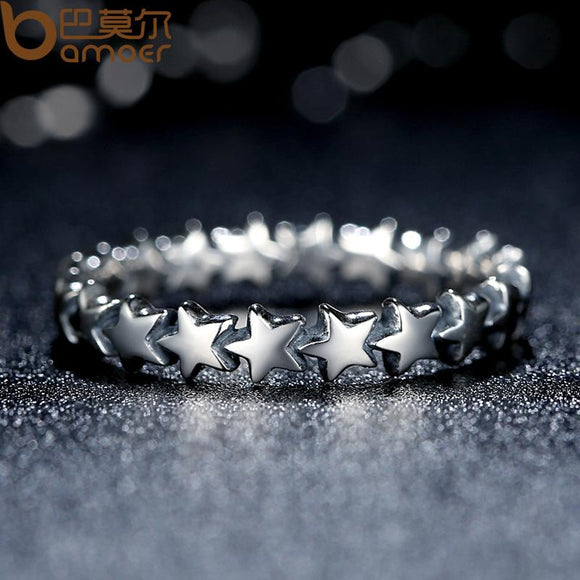 BAMOER Star Trail Stackable Finger Ring For Women