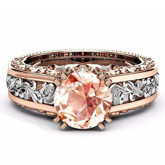 Zircon Rose Gold Engagement Ring for Female