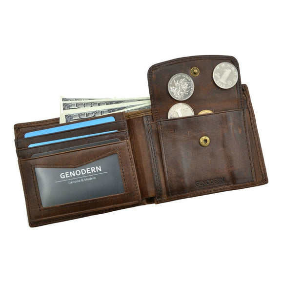 Men Wallets with Coin Pocket Vintage Male Purse Function Brown Genuine Leather Men Wallet with Card Holders