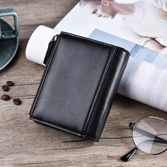 Wallet Double Zipper&Hasp Design Small Wallet  Male High Quality Short Card Holder
