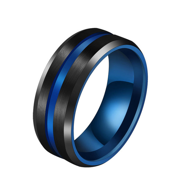 Hot Sale Groove Rings Black Blu Stainless Steel Midi Rings For Men